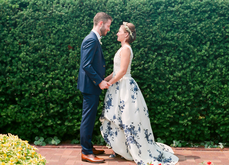 Chicago Botanic Garden wedding. Blue floral wedding dress and custom designed suit.