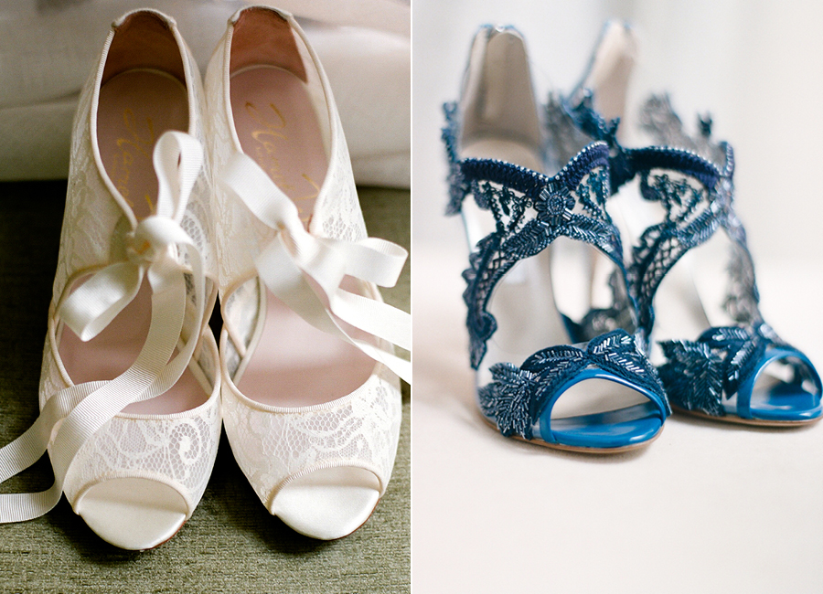 One of a kind Oscar de la Renta blue lace wedding shoes